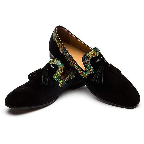5f4c36eda63 Mocasines Zapatos de Hombres Zapatos de Terciopelo de Cuero con Cordones  Borlas de Hombre Zapatos Casuales de Moda  Amazon.es  Zapatos y complementos