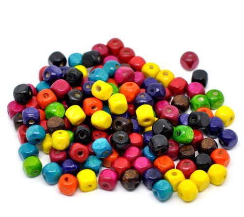 Rockin Beads 250 Square Cube Wood Spacer Beads 8mm Mixed Colors Painted ()