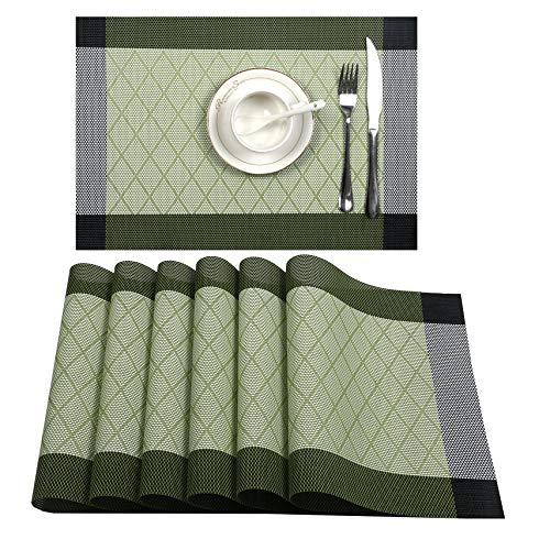 UArtlines Placemat, Crossweave Woven Vinyl Non-Slip Insulation Placemat Washable Table Mats Set (6pcs placemats, L Green)