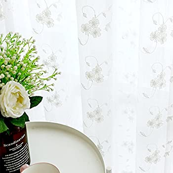 Amazon miuco floral embroidered semi sheer curtains faux linen floral embroidered sheer curtains for living room crushed sheer window treatments for bedroom 95 inches long curtain panels rod pocket top 2 panels white mightylinksfo