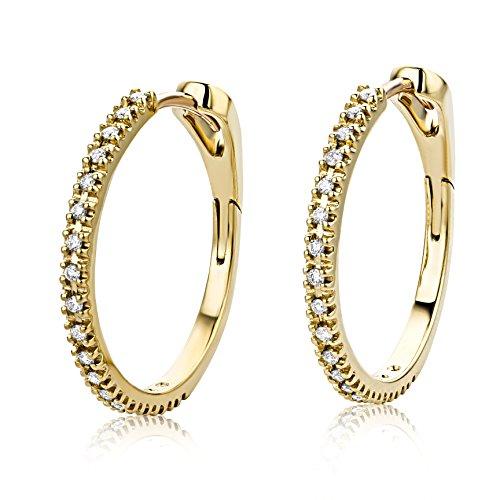 Miore - M0488Y - Boucles d'Oreilles Femme - Or jaune 750/1000 (18 carats) 3.42 gr - Diamant 0.18 Cts