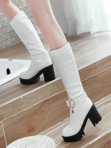 Talon Mode Bottes Aisun Hautes Femme Cuissardes Mollet Bloc Blanc 0IwRPx5