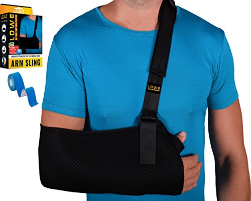 Arm Sling Medical Immobilizer for Dislocated Shoulder, Broken Arm Surgery Wrist Collar Bone - Support Strap Lightweight Ergonomic Padded for Men & Women - Bundle with Muscle Tape - by Lowe Royal