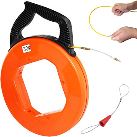 4mmx30m Fiberglass Electrical Fish Tape Reel,Cable Puller Orange F Pulling Wire