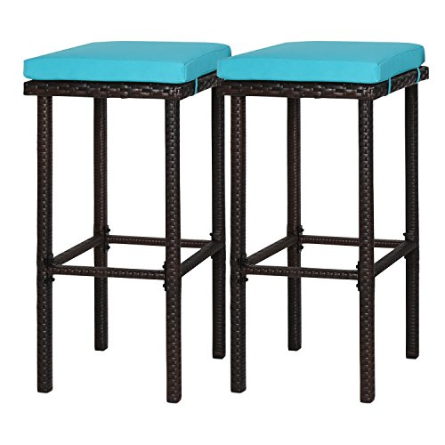 Kinbor 2 Pcs Wicker Rattan Bar Stool Counter Height Patio Outdoor Bar Chair Furniture Set With Blue Cushions 2 Rattan Bar Stools