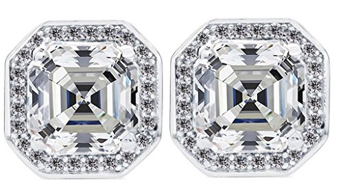 NANA Asscher-Cut Halo Stud Earring-Sterling Silver Swarovski Zirconia 14kt Solid Gold double notched Post (platinum-plated-silver, 7.00 MM Asscher Cut Cubic Zirconia) (Stud Earrings Asscher)