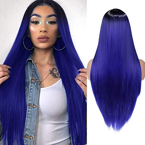 WIGER Ombre Blue Wig Long Straight Colored Hair Synthetic Wigs Middle Part Natural Looking Heat Resistant Party Cosplay Costume Full Wigs for Women Girls