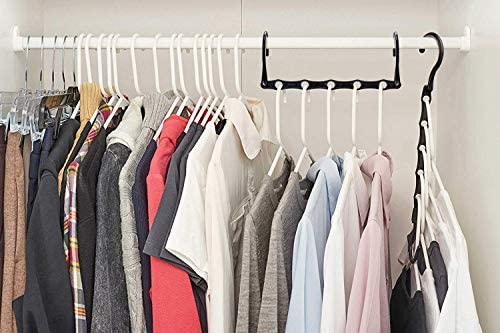 51MSN3vyn6L. AC HOUSE DAY Black Magic Hangers Space Saving Clothes Hangers Organizer Smart Closet Space Saver Pack of 10 with Sturdy Plastic for Heavy Clothes    Product Description