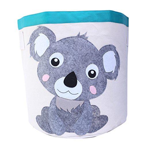 Laundry Hamper Collapsible Storage Bin Basket Canvas Column Bin Set with Handles -Waterproof Animal Design Fold Basket for Kids 17.5 x 17(Koala) by LHtrade
