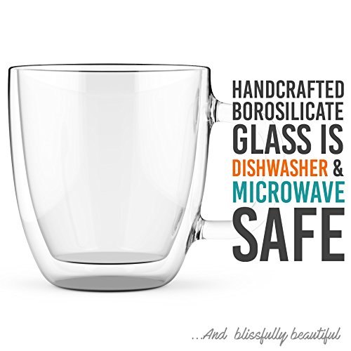 Large Coffee Mugs, Double Wall Glass Set of 2, 16 oz - Dishwasher & Microwave Safe - Clear, Unique & Insulated with Handle, By Elixir Glassware by Elixir Glassware (Image #4)