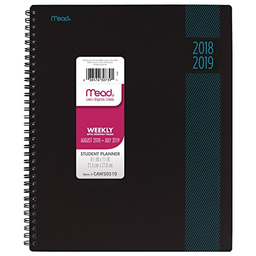Mead 2018-2019 Academic Year Weekly & Monthly Planner, Large, 8-1/2 x 11, Type Treatment, Teal (CAW505D2)