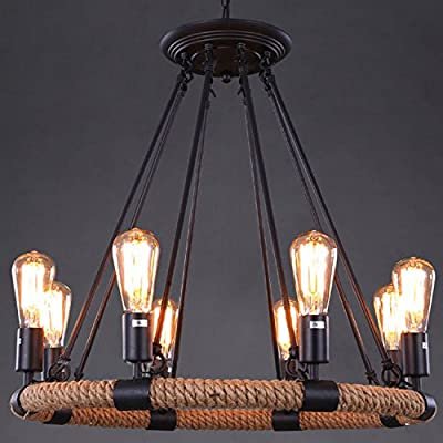 "Industrial Adjustable Retro Vintage Style Hemp Rope Chandelier - LITFAD 33"" Wide Ceiling Light Pendant Light Mounted Lighting Fixture with 8 Lights"