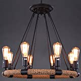 Industrial Adjustable Retro Vintage Style Hemp Rope Chandelier - LITFAD 33