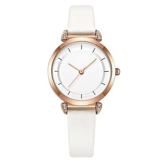 Reloj de pulsera para mujer y mujer, elegante y a la moda, de cuarzo, correa de piel: Amazon.es: Relojes