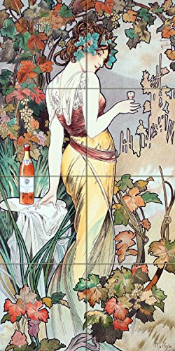 Poster girl bottle of wine grape by Alphonse Mucha Tile Mural Kitchen Bathroom Wall Backsplash Behind Stove Range Sink Splashback 2x4 6'' Rialto by FlekmanArt