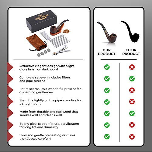 Tobacco Pipe   Pipes for Smoking Tobacco   Stylish, Cool and Distinguished Starter Pipe Kit   The Perfect Gift for a Classy Gentleman by Smokey Hollow Co by Smokey Hollow (Image #7)