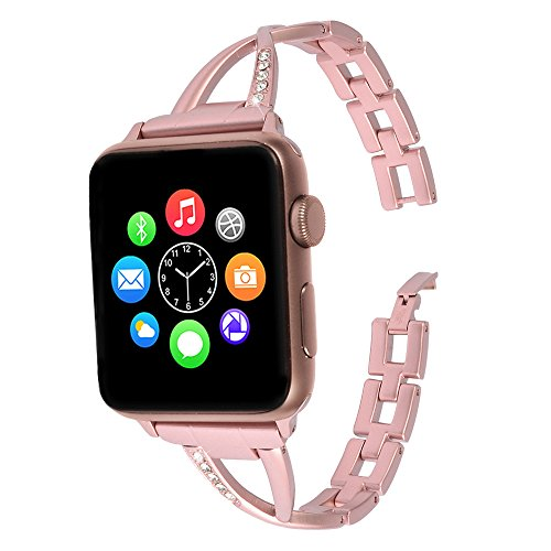 Lwsengme Apple Watch Band,Lwsengme Steel Wrist Band with Adjustable Buckle for Apple iWatch/New Apple iWatch Series 2/ Apple Watch Series 1/Nike+ (42mm-Rose Gold-02) Photo #3