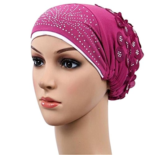 Women Muslim Stretch Turban Floral Rhinestone Hat Cap Head Scarf Wrap (Hot Pink)