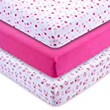 M&Y Premium Fitted Crib Sheets (3-PACK) GIRLS | Extra-Soft, Stretchy 100% Jersey Knit Cotton | Plus Free Breastfeeding Guide | Fits Standard Crib Mattress for Babies & Toddler Mattress (52x28x9 inch)