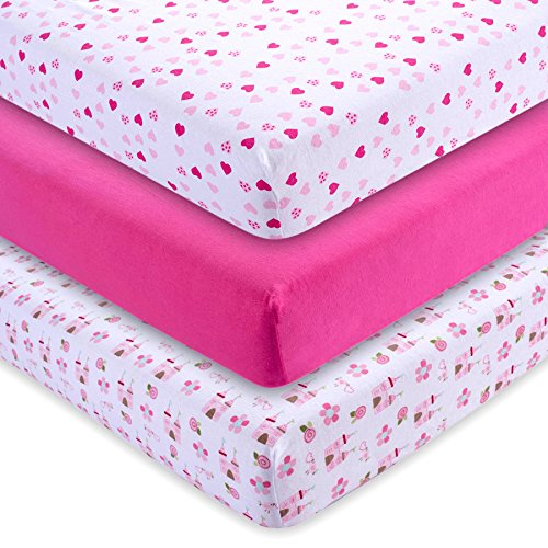M&Y Fitted Crib Sheets (3-PACK) GIRLS | Super Soft Jersey Knit Cotton | Fits Standard Crib Mattresses (52x28x9 inches)