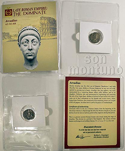 - ARCADIUS - Ancient Roman Bronze Coin in Folder with Certificate of Authenticity - AUTHENTIC ROMAN ARTIFACT 383-408 AD