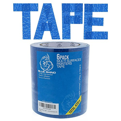 Blue Painters Tape 1 inch x 70 Yards - 6 Roll Value Pack | 14 Day Clean Removal | Perfect for Multi-Use | Get The Pro Look, Without The Pro Price | Free E-Book by Blue Rhino