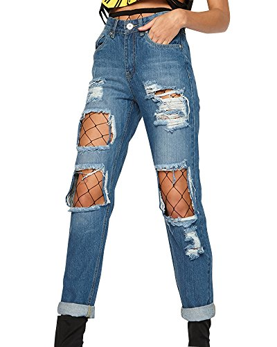 Mujer con de Pantalones Up Medias ZhuiKun Azul Oscuro Jeans Elásticos Vaqueros Push Liga Leggings f1wndRqx