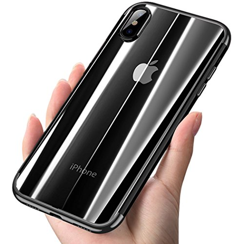 iPhone X Case, COOLQO [Support Wireless Charging] Ultra-thin Crystal Clear Soft Flexible TPU Bumper Slim Electroplating Transparent Protective Cover & Skin For Apple iPhone 10 / X 5.8 inch (Black)