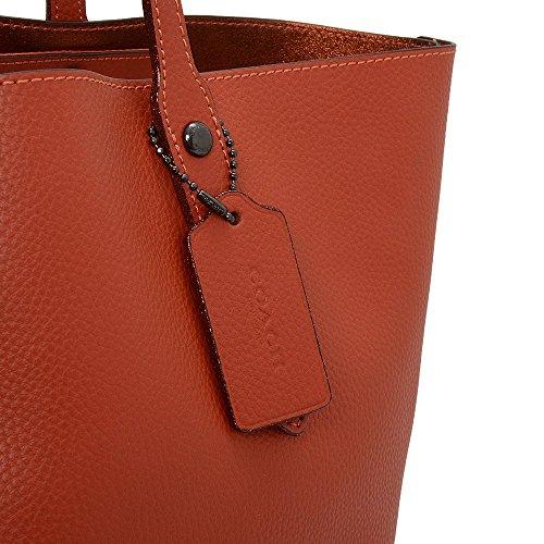 Salida 2018 Nueva Estilo De Moda Coach Market Polished Metallic Brick Leather Tote Bag Red Leather Paquete De Cuenta Regresiva Para La Venta yujIay