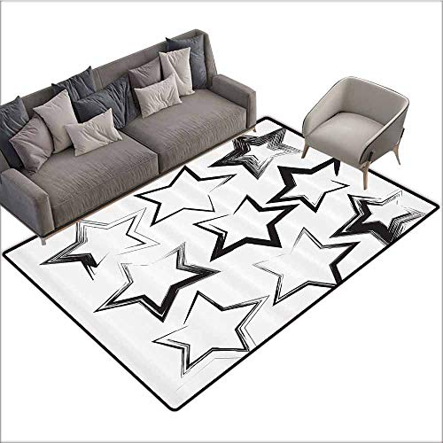 Kids Bedroom Mats Decorative Grunge Home Decor,Set of Grunge Star Brush Strokes with Different Borders and Angles Artisan Print,Charcoal Grey 64