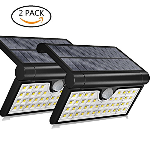 Aluvee Solar Step Wall Lights Outdoor,2 Pack 42 LED Fold Motion Sensor IP65 Waterproof Wall Lighting Security Wireless for Yard Wall Porch Patio Path Fence by Aluvee