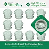 10 - Bissell Featherweight Filters, Part # 32019. Designed by FilterBuy to fit Bissell Featherweight Lightweight Stick Vacuum Cleaners