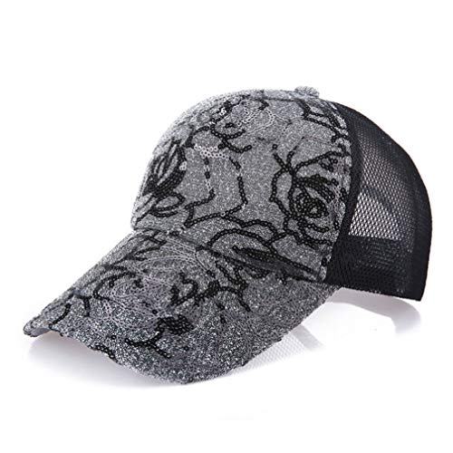 Women Baseball Caps Charm Summer Lace Flower Glittered Sequins Printing Breathable Mesh Adjustable Sports Hat Dark Grey