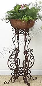 """Wrought Iron SCROLLWORK Floor Planter Plant Stand Holder Large 35"""" Outdoor Patio"""