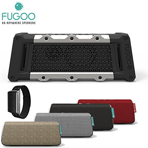 FUGOO TOUGH Portable Bluetooth Surround Sound Speaker with FUGOO Waterproof Bluetooth Remote and FOUR (4) FUGOO Style Jackets (RED, CHARCOAL, SILVER, AND SAND)
