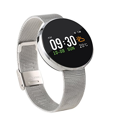 Smart Watch Blood Pressure - S12 Motion Recording Movement Heart Rate Pedometer Notice Reminder Waterproof Smartwatch (Silver)