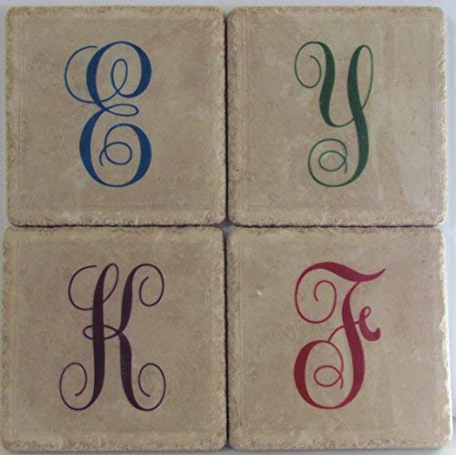 - Personalized Coasters - Initials - Set of 4 - Monogram Coasters - Stone Coasters - Drink Coasters - Wedding Coasters - Tile Coasters - Coaster Set - Anniversary Coasters - Marble Coasters