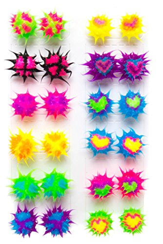 Spiky Silicone Stud Earrings for Women,Teens,Girls,Kids | Multicolored Rave Ball Earrings| Soft Hypoallergenic Silicone Spikes for Fidget and Sensory | Frogsac (SET OF 12 Heart/Peace)