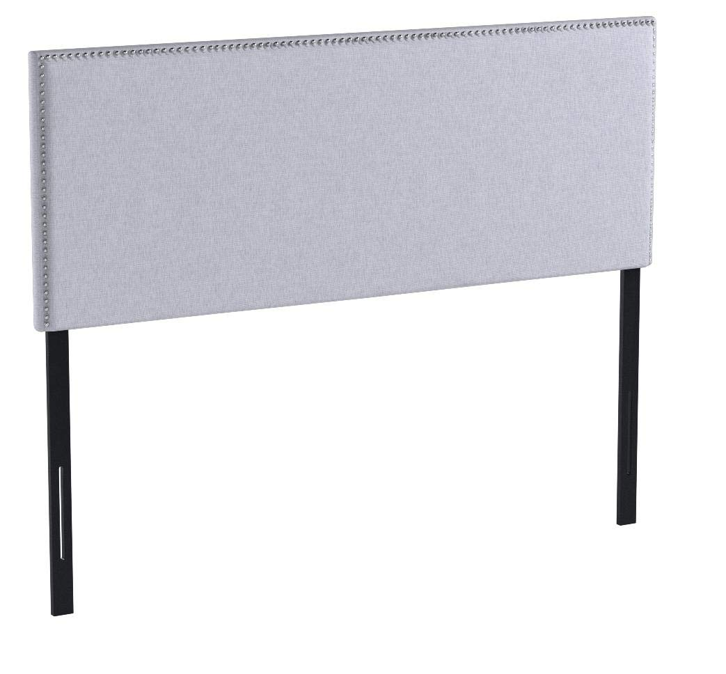 Zinus Jake Upholstered Nailhead Rectangular Headboard in Light Grey, Full