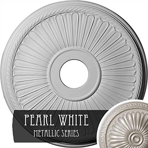 Pearl Ceiling Medallion - Ekena Millwork CM20BE1PWS Berkshire Ceiling Medallion, Pearl White