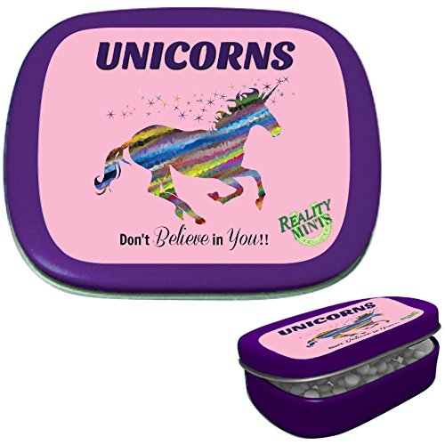 Unicorns Don't Believe In You Mints – Gift for Fantasy Fans – Gifts for Unicorn Lovers – Funny Mint Tins – Unicorn Stocking Stuffers – Peppermint Mints - Unicorn Gifts - Reality Mints ()