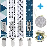 Pacifier Clip by Dodo Babies Pack of 4 + Pacifier Case, Premium Quality Modern Designs Universal Holder Leash for Boys and girls, Teething Toy or Soothie
