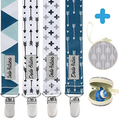 Pacifier Clip by Dodo Babies Pack of 4 + Pacifier Case, Premium Quality Modern Designs Universal Holder Leash for Boys and girls, Teething Toy or Soothie, Baby Shower Gift Set ()