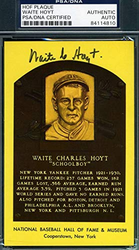 WAITE HOYT PSA DNA Coa Autograph Gold HOF Plaque Hand Signed Authentic