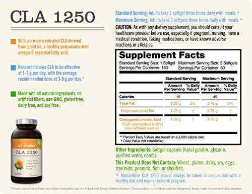 NatureWise CLA 1250, High Potency, Natural Weight Loss Exercise Enhancement | Increase Lean Muscle Mass, Non-Stimulating | Non-GMO, Gluten-Free, & 100% Safflower Oil [2 Month Supply - 180 count]