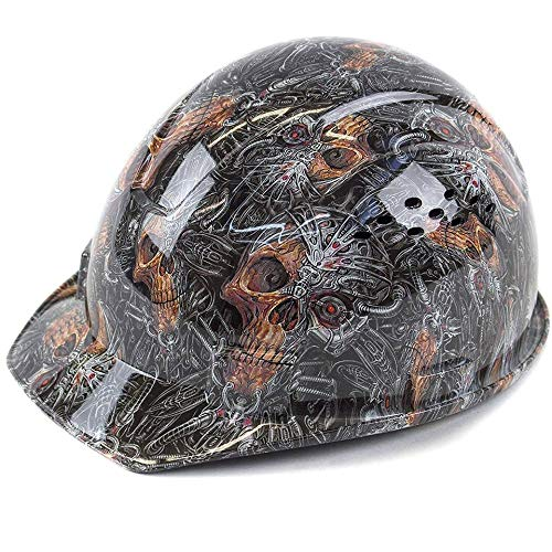 Troy Safety RK-HP34-SKULL Patterned Hard Hat Cap Style with 4 Point Ratchet Suspension (Skull) by Troy Safety