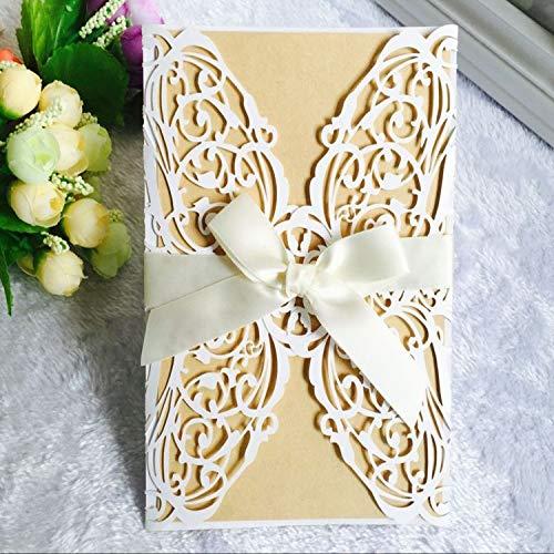 JEWH 10Pcs/1Lot Wedding Invitation Card Laser Cut Lace Openwork Invitation Cards White Elegant Pattern Holiday Party Decoration (White) -