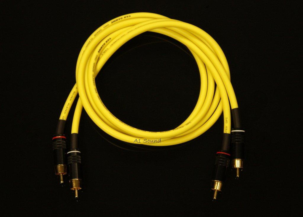 Van Damme amarillo Ultra Analogue Interconnect Cable de par 25 M Longitud terminados con alta calidad chapado en oro RCA Phono Plugs.