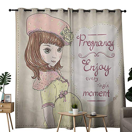 NUOMANAN Blackout Curtains Quotes,Pregnancy Enjoy Every Single Moment Clipart Pregnant Woman Dress Hat,Eggshell Pink Multicolor,for Bedroom,Nursery,Living Room 84