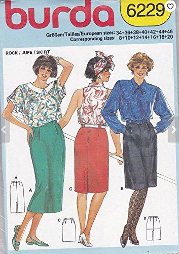 46 vintage Rock 34 gr Burda Schnittmuster Damen 6229 mehrgrößen ...